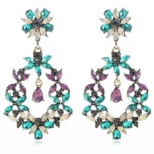Prom Pageant Bridal Jewelry - Floral Design Crystal Chandelier Earrings